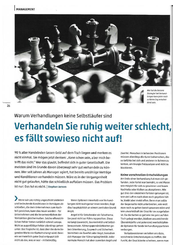Verhandldungsführung-Dt-Ingenieurblatt M&A Beratung